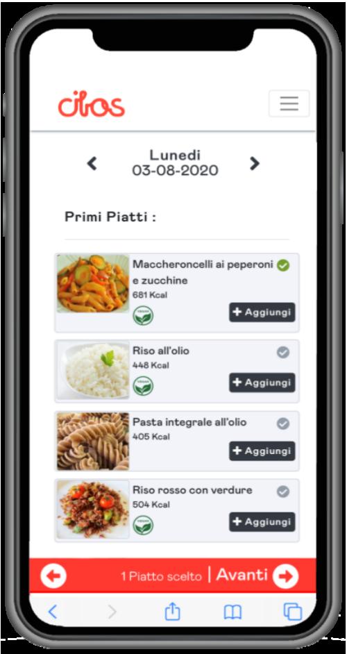 Prenota menu-Aggiungi piatto
